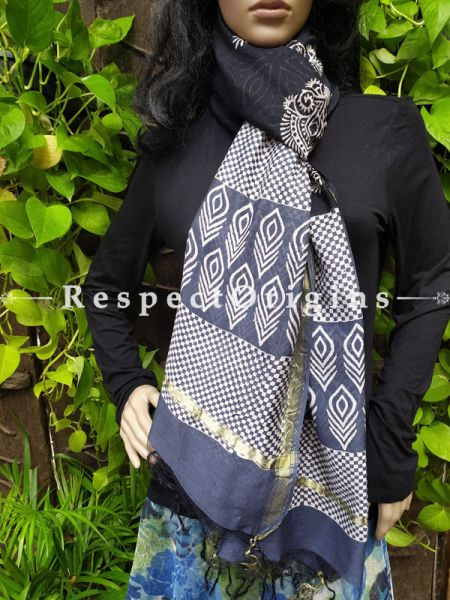 Luxurious Chanderi Silk Dupatta Stoles in Colorful Hand Block Prints; 95 Inches X 35 Inches