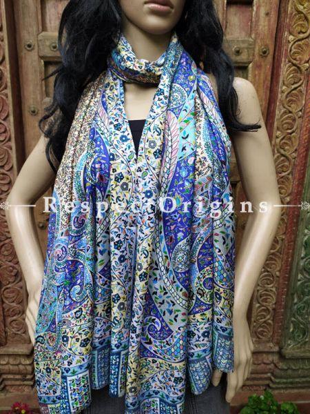 Fine Luxury Formal Silken Blue Floral Stoles for Work Wear or Evening Wear;Length 80 x 30 Width Inches.; RespectOrigins.com