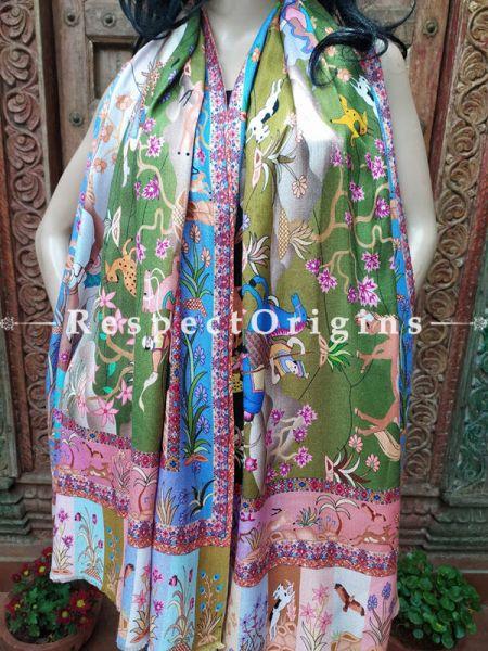Green Designer Fine Luxury Formal Silken Stoles for Work Wear or Evening Wear;Length 80 x 30 Width Inches.; RespectOrigins.com