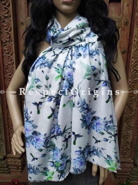 White Floral Fine Luxury Formal Silken Stoles for Work Wear or Evening Wear;Length 80 x 30 Width Inches.; RespectOrigins.com