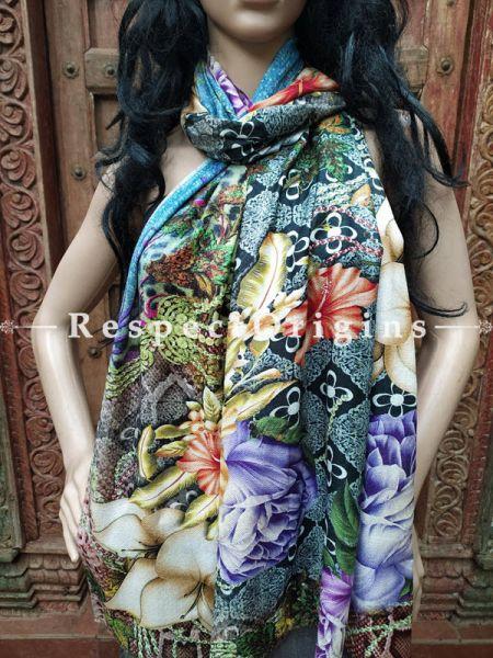 Fine Luxury Formal Silken Floral Design Stoles for Work Wear or Evening Wear;Length 80 x 30 Width Inches.; RespectOrigins.com