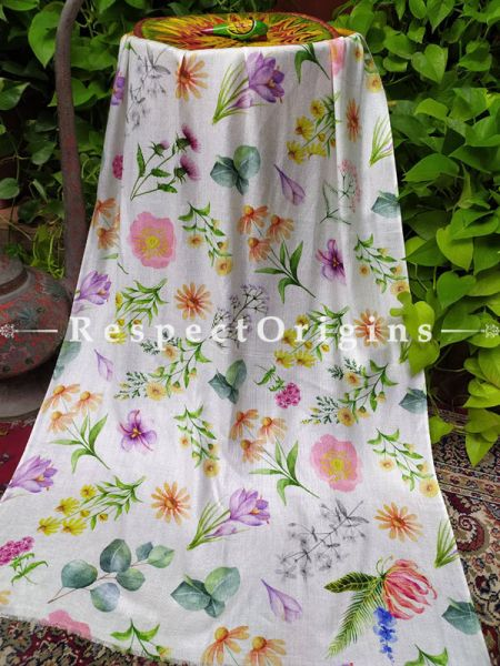 Fine Luxury Formal Silken White Floral Stoles for Work Wear or Evening Wear;Length 80 x 30 Width Inches.; RespectOrigins.com