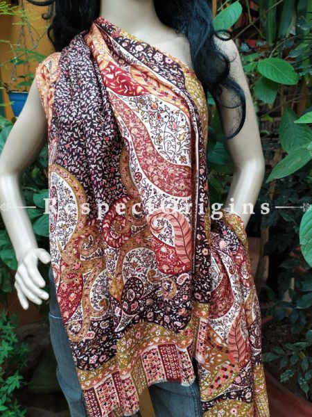 Brown Fine Luxury Formal Silken Stoles for Work Wear or Evening Wear;Length 80 x 30 Width Inches.; RespectOrigins.com