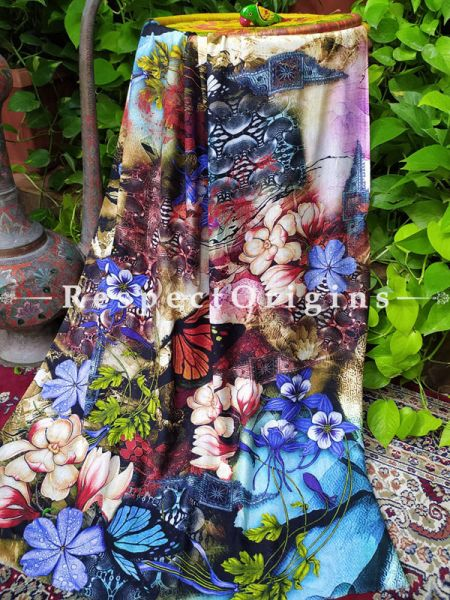 Floral Fine Luxury Formal Silken Stoles for Work Wear or Evening Wear;Length 80 x 30 Width Inches.; RespectOrigins.com