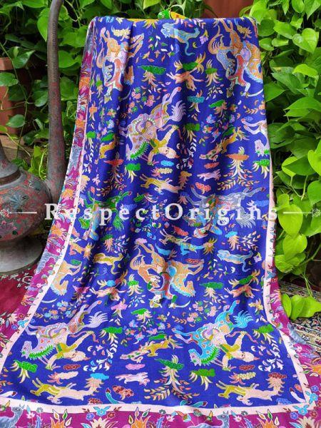Blue Fine Luxury Formal Silken Stoles for Work Wear or Evening Wear;Length 80 x 30 Width Inches.; RespectOrigins.com
