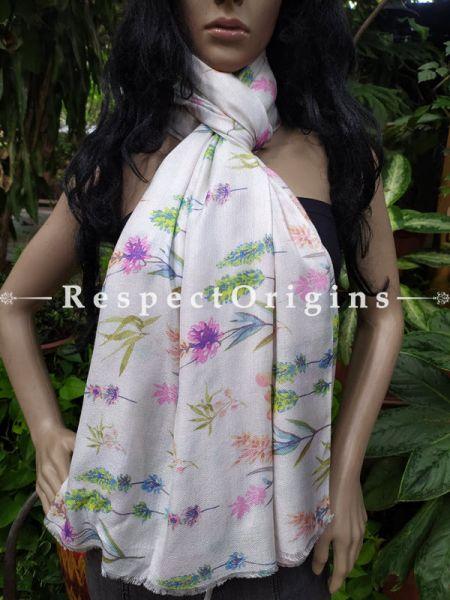 White Fine Luxury Formal Silken Stoles for Work Wear or Evening Wear;Length 80 x 30 Width Inches.; RespectOrigins.com