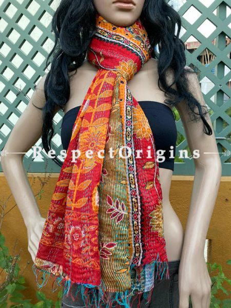 Vibrant Silken Kantha Embroidered Red and Orange Stole, Dupatta, Shawl; RespectOrigins.com