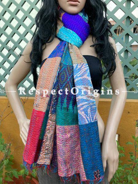 Gorgeous Silken Kantha Embroidered Patchwork Multicolored Stole, Dupatta, Shawl; RespectOrigins.com