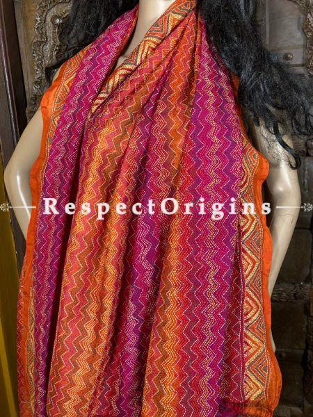 Fabulous Silken Kantha Embroidered Orange, Red and Pink Stole, Dupatta, Shawl; RespectOrigins.com