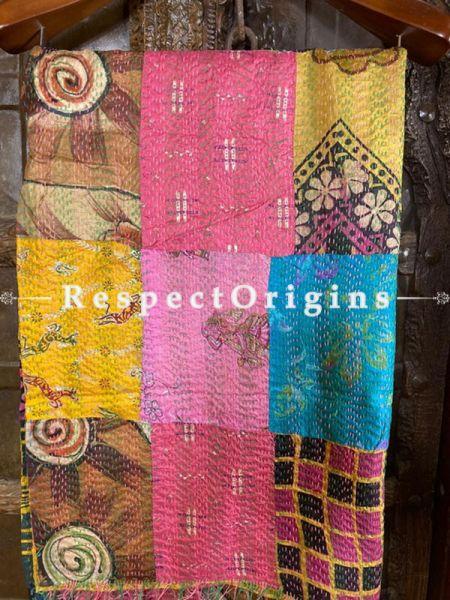 Kantha Stitch Patchwork Silk Multicoloured Stole, Dupatta, Shawl Length 80 x 43 width Inches; RespectOrigins.com
