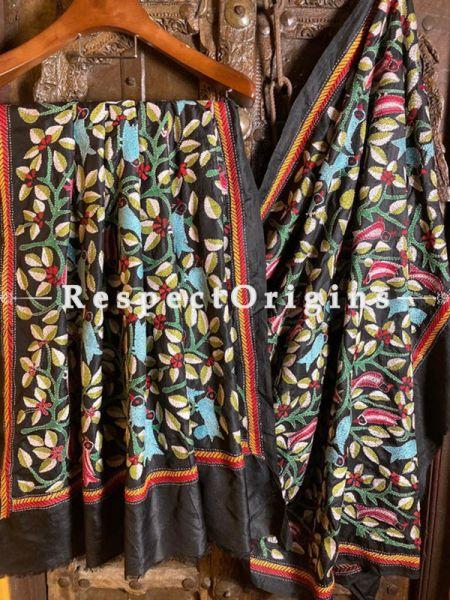 Ethnic Silken Kantha Embroidered Black Stole, Dupatta, Shawl; RespectOrigins.com