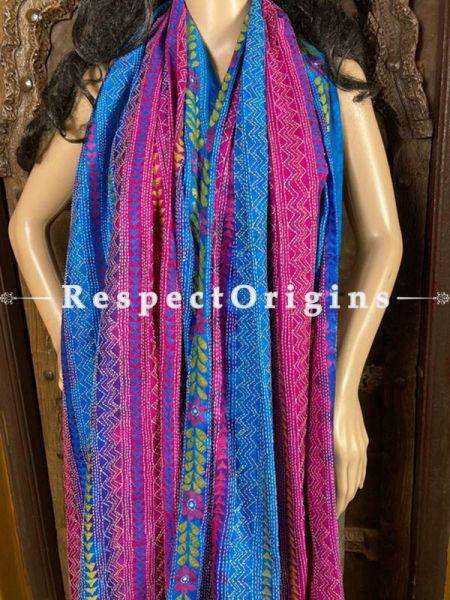Ethnic Silken Kantha Embroidered Blue and Pink Stole, Dupatta, Shawl ; RespectOrigins.com