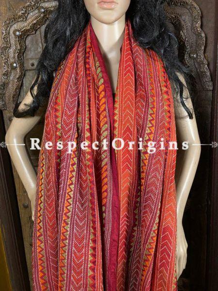 Vibrant Silken Kantha Embroidered Red Stole, Dupatta, Shawl; RespectOrigins.com