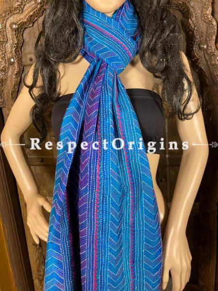 Sparkling Silken Kantha Embroidered Blue Stole, Dupatta, Shawl; RespectOrigins.com