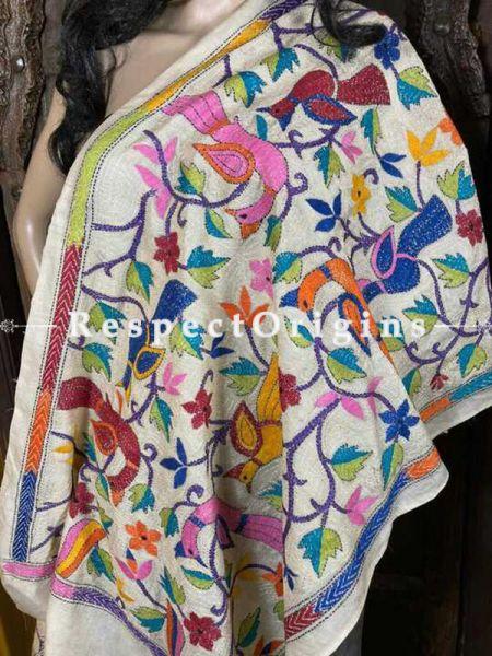Ethnic Silken Kantha Embroidered White Stole, Dupatta, Shawl; RespectOrigins.com