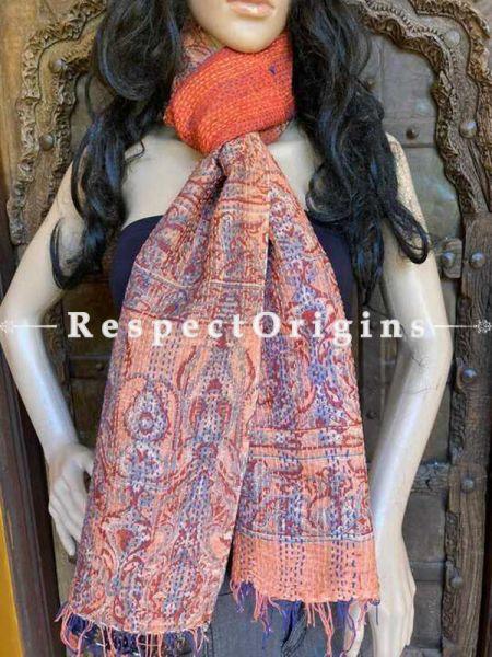 Fabulous Silken Kantha Embroidered Orange and Black, Blue Stole, Dupatta, Shawl Gift for Her.; RespectOrigins.com
