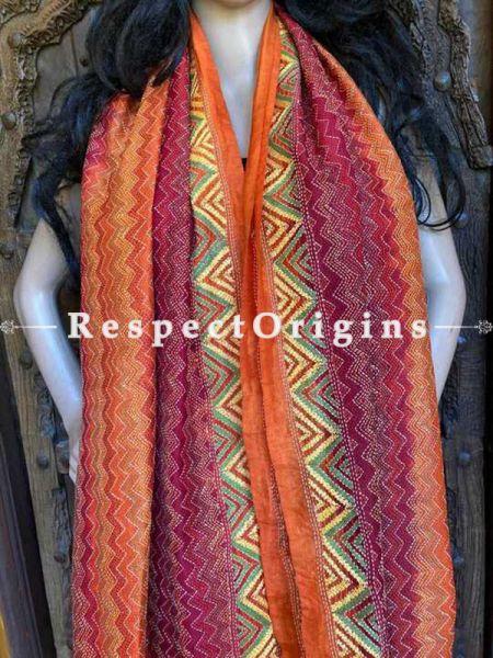 Marvelous Silken Kantha Embroidered Orange and Red, Maroon Stole, Dupatta, Shawl Gift for Her; RespectOrigins.com