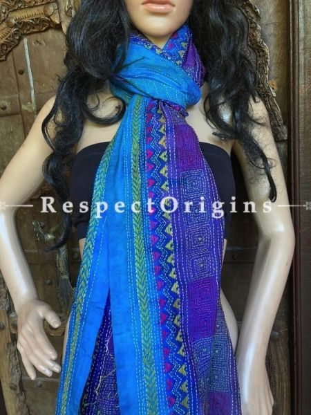 Vibrant Silken Kantha Embroidered Blue Stole, Dupatta, Shawl Gift for Her; RespectOrigins.com