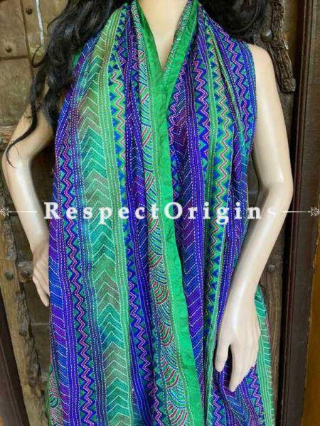 Beautiful Silken Kantha Embroidered Blue and Green Stole, Dupatta, Shawl; RespectOrigins.com