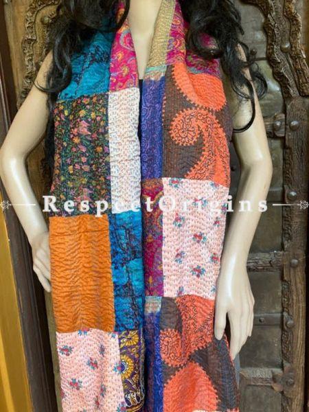 Fabulous Kantha Stitch Patchwork Silk Multicoloured Stoles; Length 88 x 35 width Inches; RespectOrigins.com
