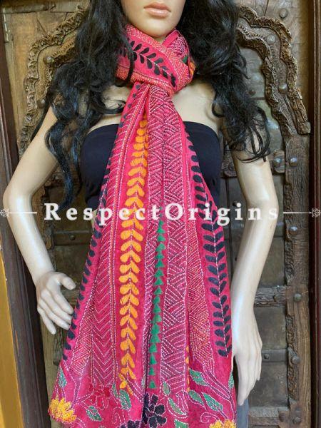 Fabulous Silken Kantha Embroidered Stole Pink, Dupatta, Shawl; RespectOrigins.com