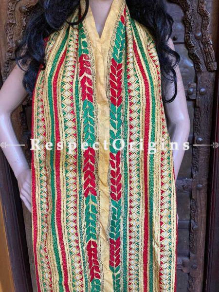 Beautiful  Silken Kantha Embroidered  Beige Stole, Dupatta, Shawl; RespectOrigins.com
