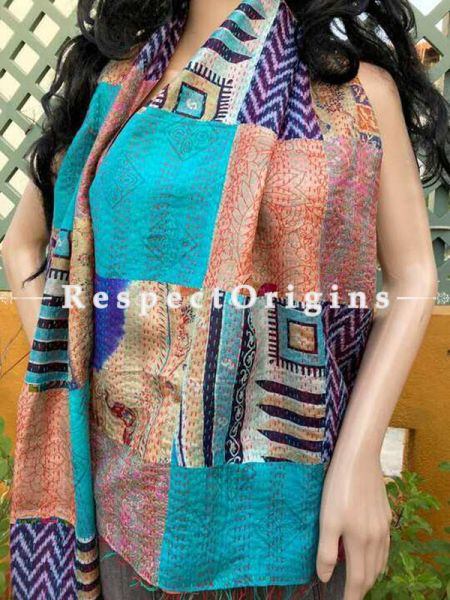 Hand Embroidered Kantha Stitch Patchwork Silk Multicoloured Stoles; Length 80 x 20 width Inches; RespectOrigins.com
