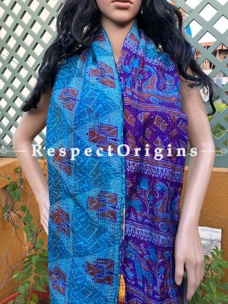 Classic Silken Kantha Embroidered Blue Stole, Dupatta, Shawl; RespectOrigins.com