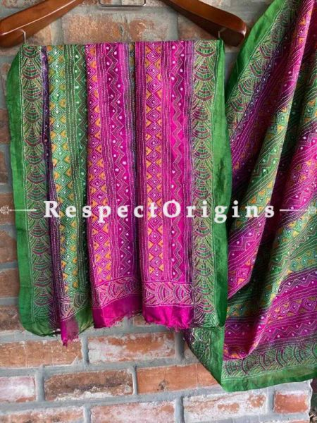Fabulous Silken Kantha Embroidered Green and Pink Stole, Dupatta, Shawl Gift for her; RespectOrigins.com