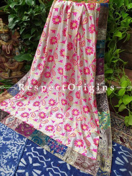 Buy Floral Marvel;  Duppata with Vintage Banarasi Kinkhab Brocade Silk Contrast Border;At RespectOrigins