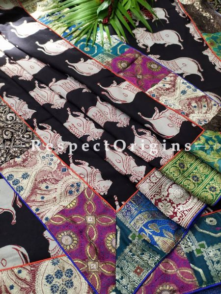 Buy One-of-a-kind Traditional Motif Duppata with Contrast Border;At RespectOrigins