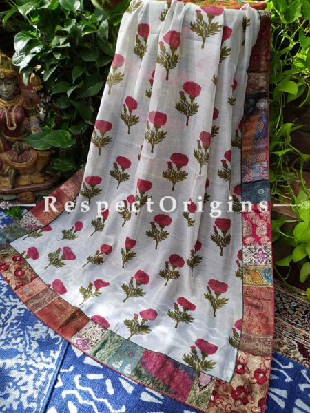 Buy Unique White Duppata with Kalamkari Print with Silk Contrast Border;At RespectOrigins