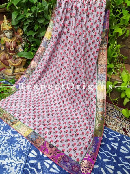 Buy Pretty and Pink!  White Dupatta with Kalamkari and Vintage Banarasi Kinkhab Brocade Silk Contrast Border;At RespectOrigins