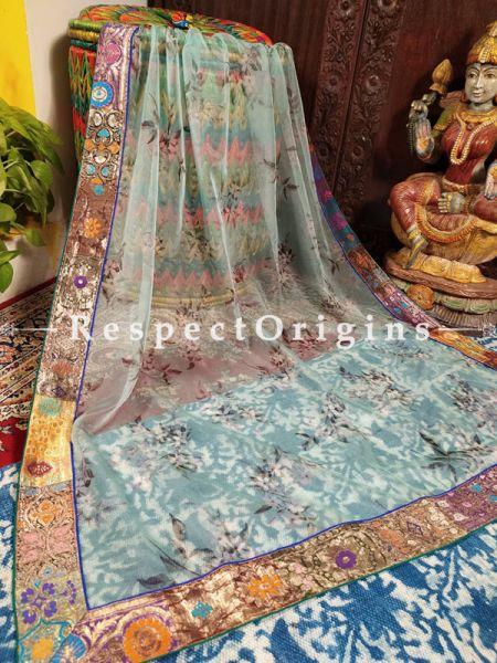 Buy Ethereal Organza Powder Blue Floral Dupatta with Silk Contrast Border;At RespectOrigins