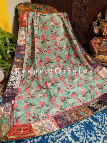 Buy Soft Blue with Blush Pink Floral Ethereal Organza Dupatta;At RespectOrigins
