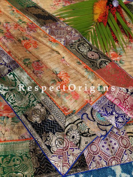 Buy Nude Golden Hued Ethereal Organza Floral Dupatta with Vintage Banarasi Kinkhab Brocade Silk Contrast Border;At RespectOrigins