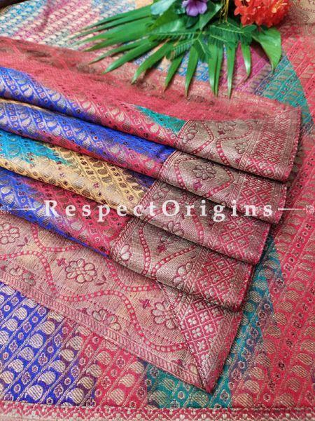 Buy Indra-dhanush Colourful Vintage Banarasi Kinkhab Brocade Silk Luxury Duppatta with Contrast Border;At RespectOrigins