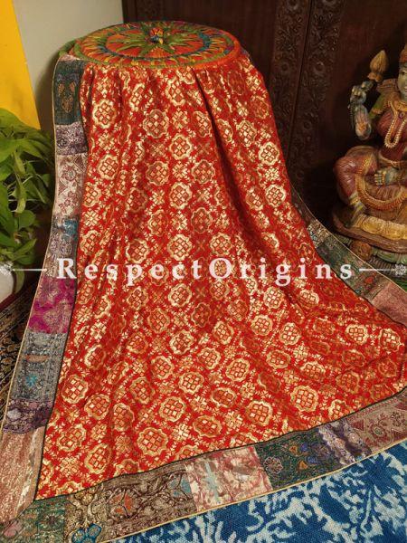 Gorgeous Gold n Red Bridal Style Vintage Benarasi Kinkhab Duppata Silk Shawl with Vintage Benarasi Border; 96X40 Inches