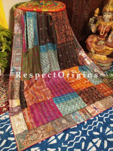 Multicolor Bridal Style Vintage Benarasi Kinkhab Duppata Silk Shawl with Vintage Benarasi Border; 96X40 Inches