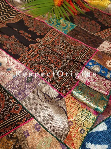 Buy Fabulous Black and Red Mashru Silk Leheriya and Sanganeri Hand-Block Print Design Dupatta;At RespectOrigins