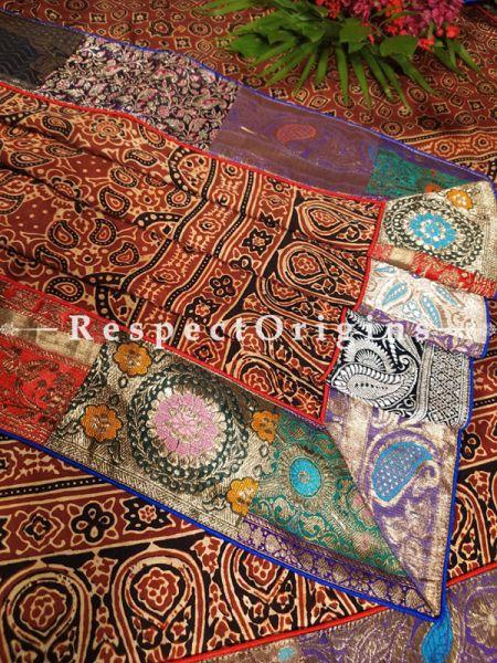 Buy Fabulous Black and Red Unique Mashru Silk Ajrakh Hand-Block Print Dupatta;At RespectOrigins