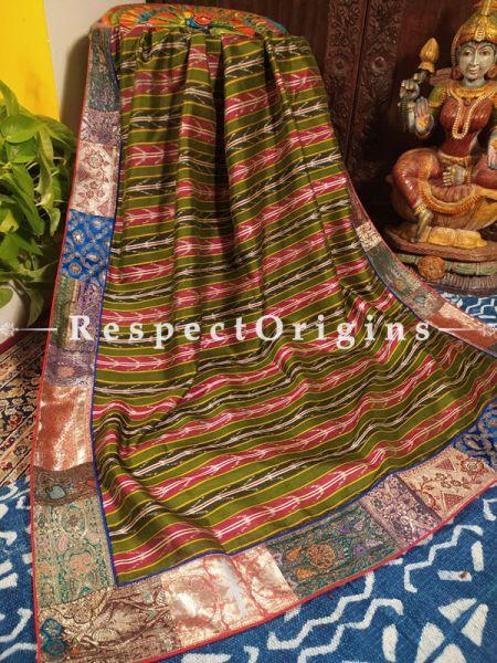 Buy Luxurious Green and Red Ikat Patola Silk Dupatta with Vintage Banarasi Brocade Kinkhab Border;At RespectOrigins