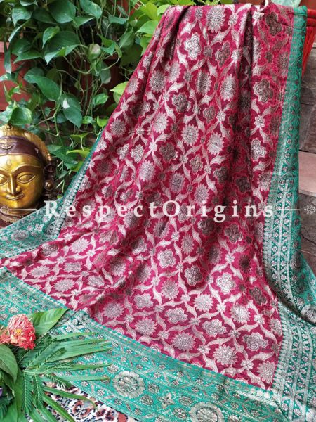 Buy Zari, Maroon and Green Vintage Banarasi Kinkhab Brocade Silk Luxury Duppatta;At RespectOrigins