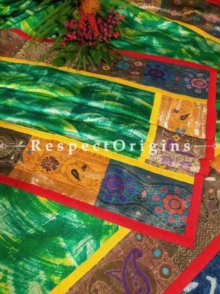Buy Luxurious Green Batik Patola Style Silk Dupatta with Vintage Banarasi Brocade Kinkhab Border;At RespectOrigins