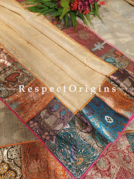 Buy Ethereal Champagne Organza Silk Duppata with Vintage Banarasi Brocade, Kinkhab Border; 100 Inches x 35  Inches;At RespectOrigins