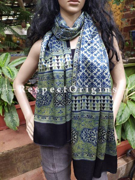 Ajrakh Hand Block Print Mashru Formal Silk Stole Duppatta Neck Scarf; Multi-coloured