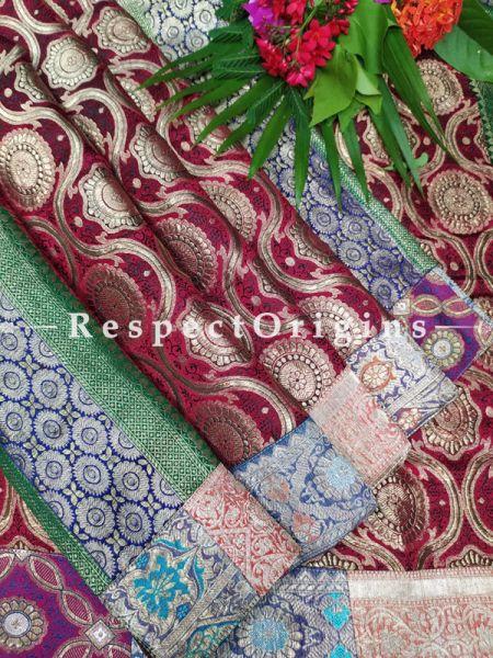 Buy Gold Zari and Deep Maroon Vintage Banarasi Kinkhab Brocade Silk Luxury Duppatta with Contrast Border;At RespectOrigins