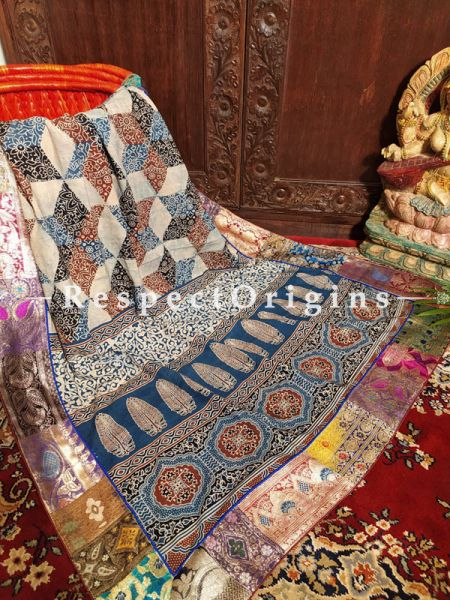 Buy Luxury Indigos and Maroon Mashru Silk Duppata with Ajrakh Block Print;At RespectOrigins