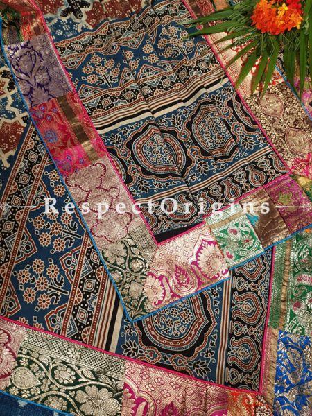 Buy Luxury Mashru Silk Duppata with Earthy Ajrakh Block Print;At RespectOrigins