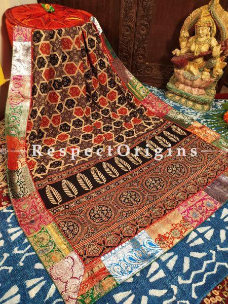 Buy Luxury Mashru Silk Duppata with Ajrakh Block Print;At RespectOrigins